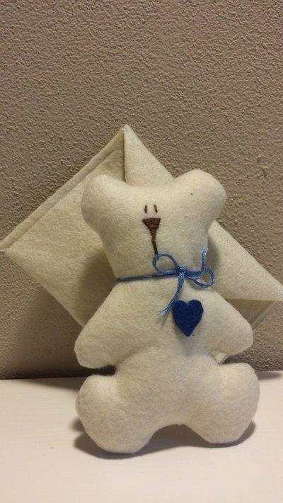 Bomboniera sacchettino porta confetti con decoro orsetto