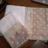Coppia asciugamano + ospite stile shabby