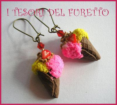 """Orecchini """"Gelato Fragola Limone"""" fimo cernit kawaii bijoux originali estate 2014 idea regalo"""