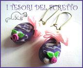 """Orecchini """"Uova di pasqua zuccherati viola lilla"""" fimo cernit ovetto pasquale bijoux"""