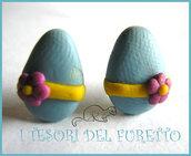 """Orecchini Perno """"Uova pasqua Azzurro Fiore"""" zucchero glassati cioccolato idea regalo Pasqua 2014"""