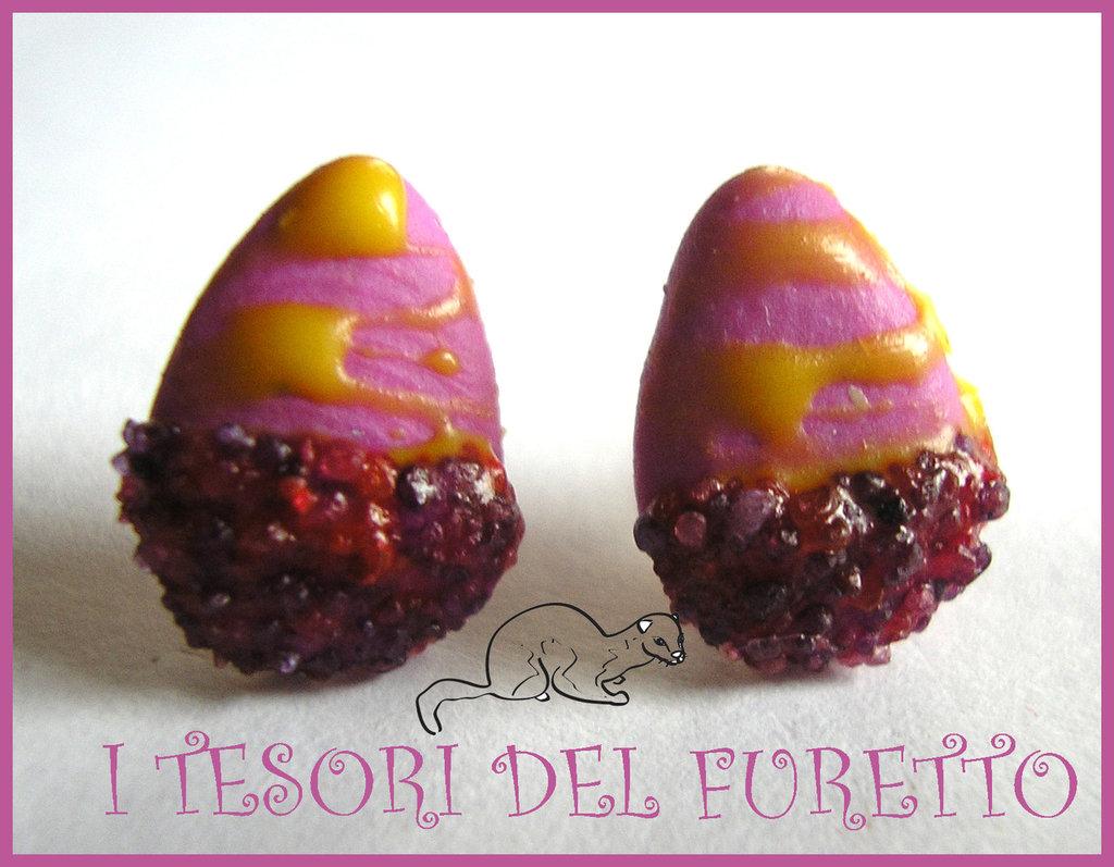"""Orecchini Perno """"ovetti di pasqua Viola Lilla glassati"""" zuccherini cioccolato Pasqua 2014"""