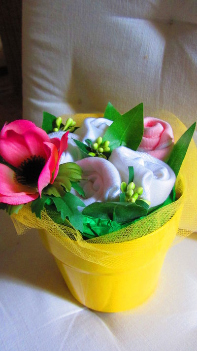"""*bouquet regalo nascita bimba """"Bocciolino Limone piccolo"""""""
