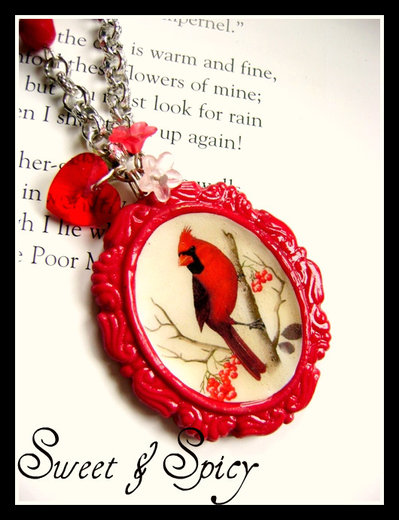 BOTANICAL COLLECTION-RED CARDINAL BIRD CAMMEO NECKLACE-COLLANA CON CAMMEO CARDINALE ROSSO