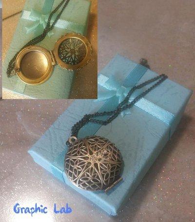 Collana Medaglione Portafoto Apribile in Bronzo