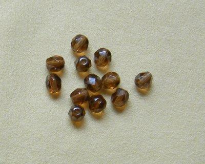 lotto 20 perline in mezzo cristallo marrone da 6 mm.