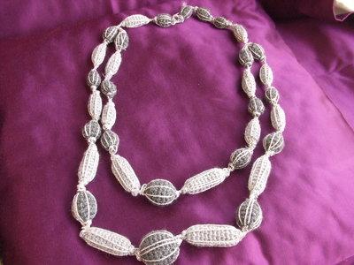 collana griggio argento uncinetto