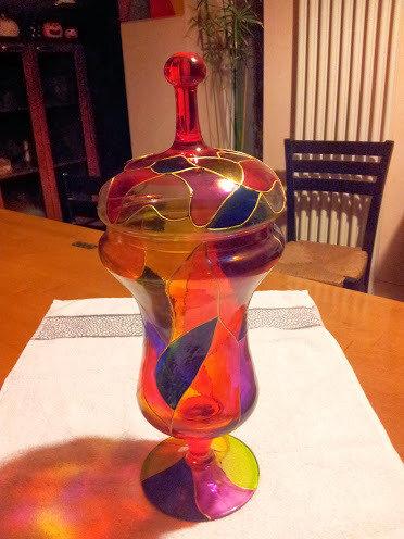 coppa in vetro dipinta a mano