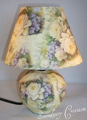 Lampada Abat Jour in ceramica Rose Bianche