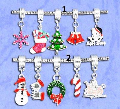 5 mix perle con gancio foro largo soggetti natalizi