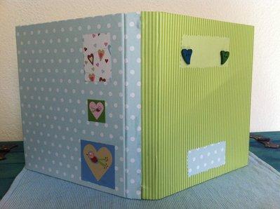 Quaderno patchwork verde e celeste