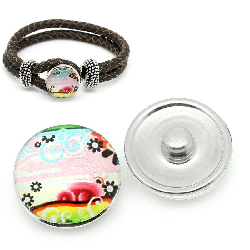pulsante Bottone a clip paesaggio multicolr 18mm per Bracciale