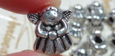 8 perline Angelo Foro Grande Argento Tibetano