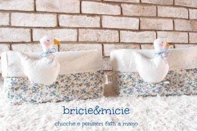 Basket contenitore  portaoggetti feltro e stoffa decoro Ochetta