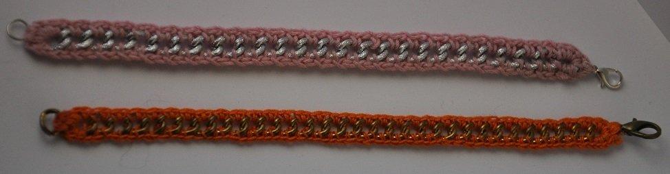 Bracciale con catena e cotone (disponibile anche in altri colori su richiesta)