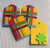 "Tag-Etichette chiudipacco in giallo - ""Funky&Flowers"" Yellow&Green Version^^ - lotto (50pz)"
