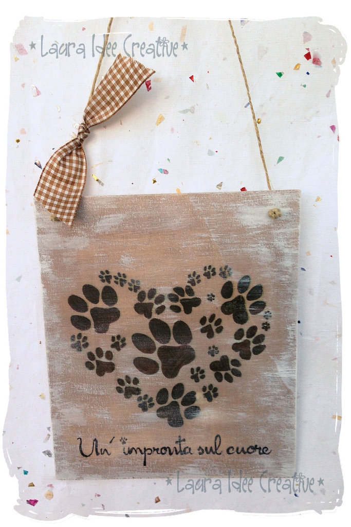 """Targa Pannello """"Un'impronta sul cuore"""""""