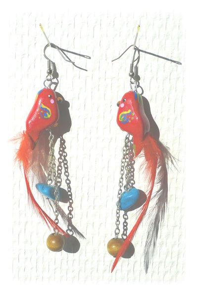 Boucles d'oreilles perroquets rouges