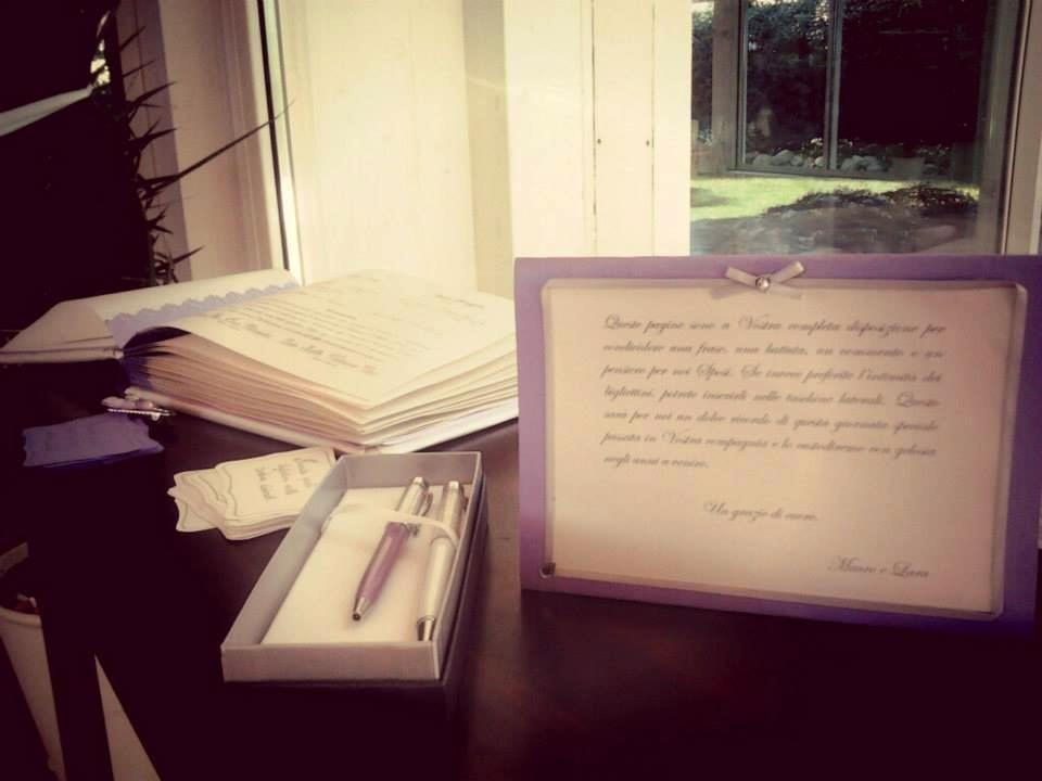 Guestbook per matrimonio, rilegato con cartoncino perlato
