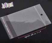 100 Bustine plastica con aletta adesiva e foro - 7x13,5