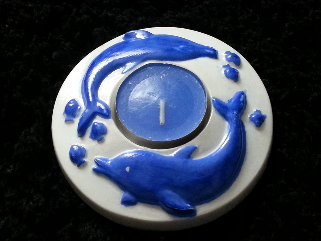 "PORTACANDELA ""STYLE MARE""- delfini blu"