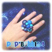 Bague bulles bleues