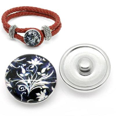 pulsante Bottone a clip con fiore bianco/nero 18mm  Dia. per Bracciale adattabile