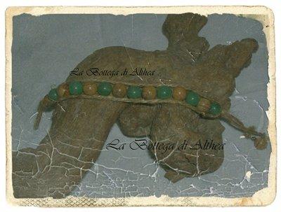 Bracciale in corda con cristalli di agata verde e agata paesaggio