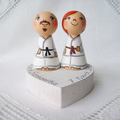 Sposini torta nuziale top cake topper in base figurine statuette