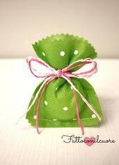 sacchetto bomboniera verde a pois