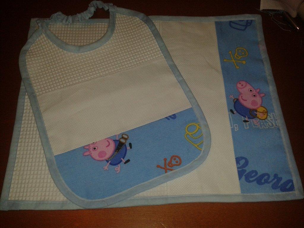 Set asilo Peppa Pig george inserto tela aida punto croce matassine dmc anchor