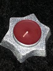 """PORTACANDELA """"STELLA"""" - bianca con glliter argento e candelina rosso scuro"""