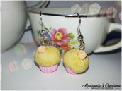 Orecchini cupcake in fimo rosa salmone