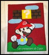 Porta tablet in feltro e pannolenci Super Mario fatto a mano.