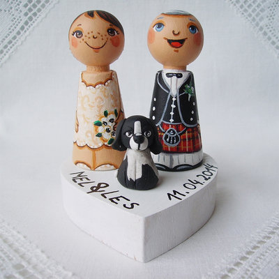 Sposini torta nuziale top cake topper in base figurine statuette