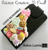 Cover/Portacellulare ad incastro NOKIA LUMIA 520 panna,  leccalecca, caramelle, cioccolato