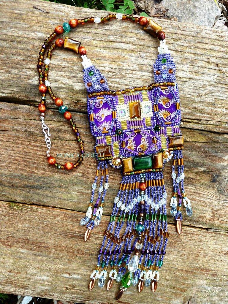 """Collana con pietre e perline realizzata a mano """"Machu picchu"""""""
