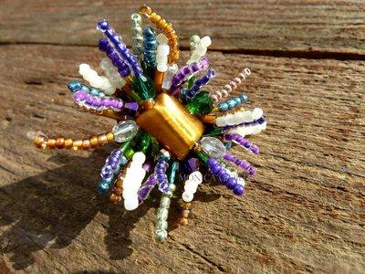 """Anello con pietra e perline fatto a mano """"Machu picchu"""""""