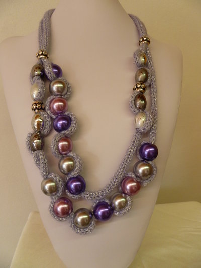 collana sfere viola e rosa