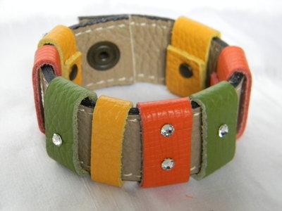 Bracciale fascia multicolor vera pelle e swarovski