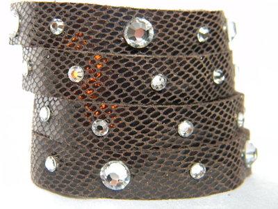 Bracciale vera pelle 4 fasce con cristalli swarovski