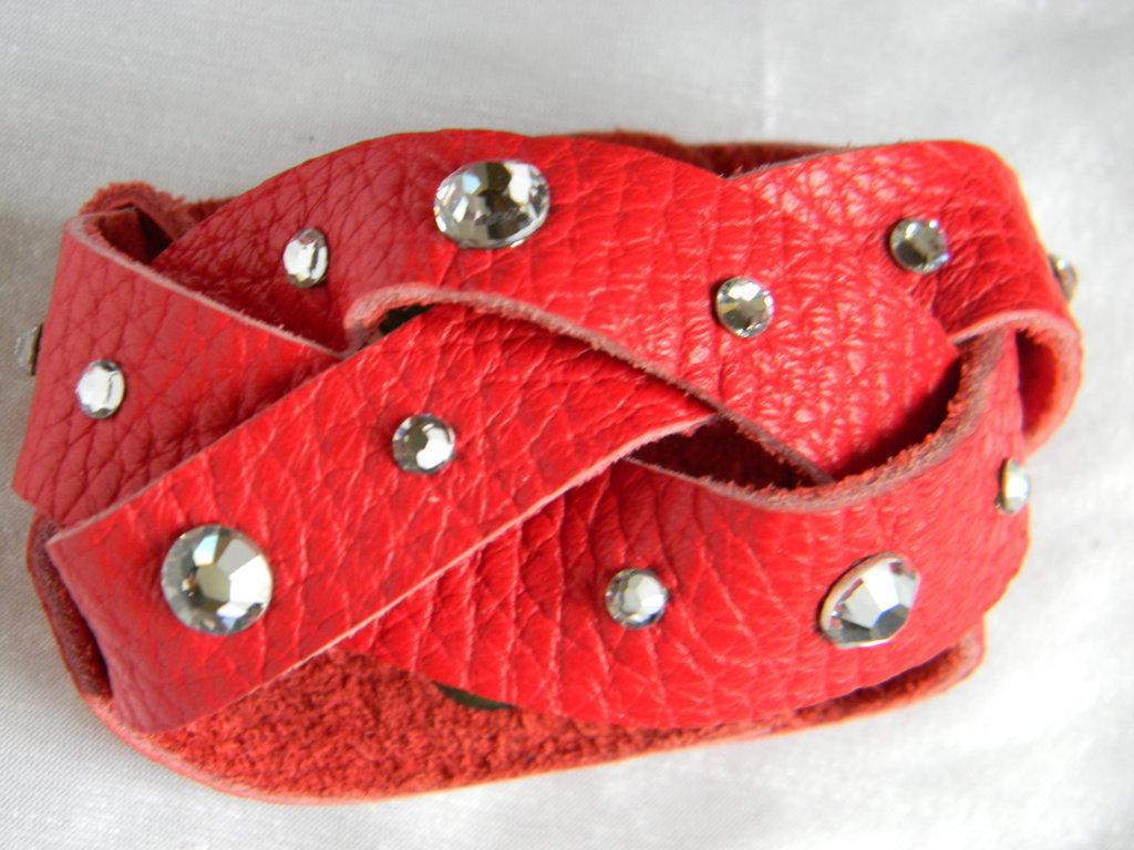 Bracciale treccia vera pelle e cristalli swarovski