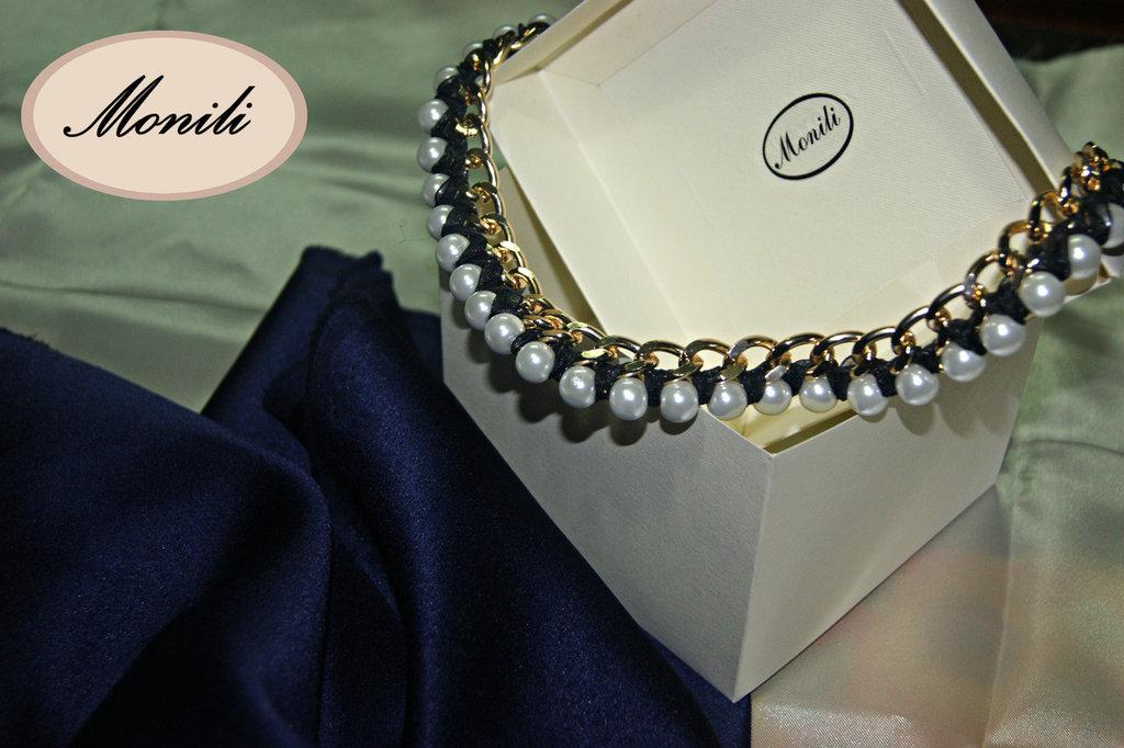 collana girocollo perle e metallo Pearl collier