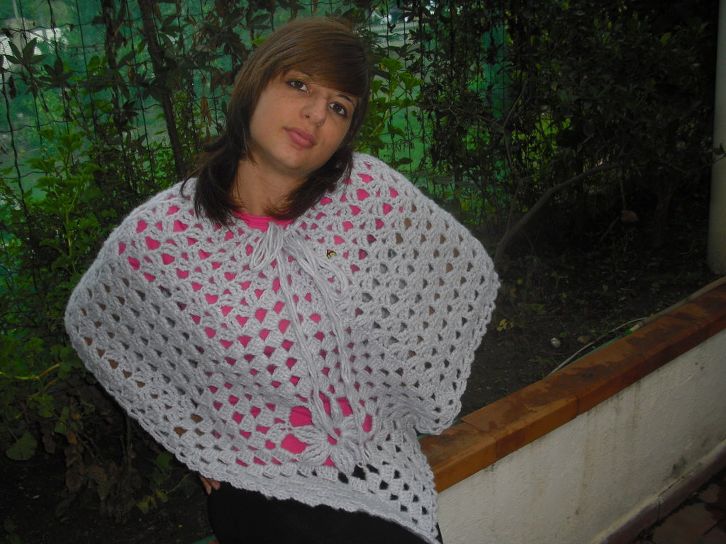 Poncho lana  lilla