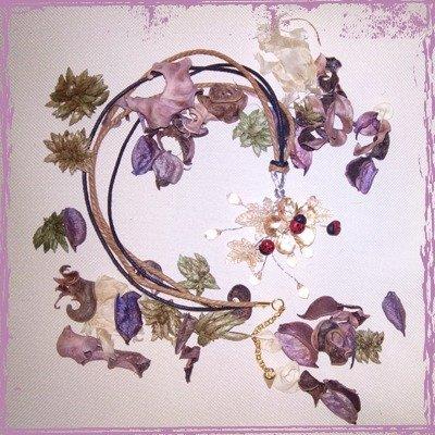 Collana Coccinelle su Fiori, fimo e vetro