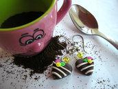 """Orecchini """"Cioccolatini Cuore cpn roselline"""" Fimo cernit kawaii idea regalo"""
