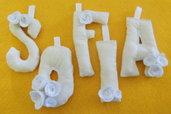 Nome di stoffa con lettere imbottite