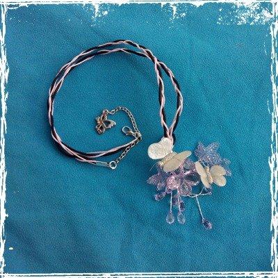 Collana Farfalle su Fiori, fimo e vetro