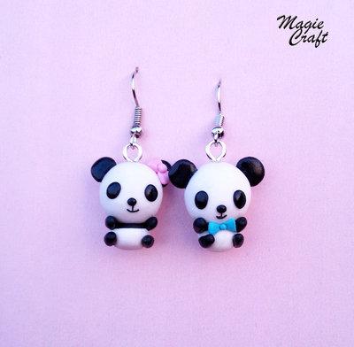 Orecchini Panda in Fimo bear