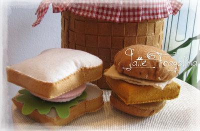 Set di Sandwich e Hamburger - giocattolo in feltro,bambini